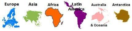 Global Book Labels: Europe, Asia, Africa, Latin America, Australia & Oceania, and Antarctica.