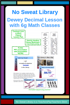 Make your Dewey Decimal Library Lesson more authentic and relevant by inviting 6g Math classes to review decimal place values and sequencing! Students & teachers love this Library Lesson that activates prior knowledge at the beginning of their 6g Math decimal unit. Do this lesson, and your math teachers will come to you every year asking when you'll schedule their visit!