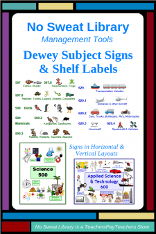 NoSweatLibrary Dewey Subject Signs & Shelf Labels - Make it easier for students to find a Dewey book in your school library with these colorful, pictorial signs and shelf labels.