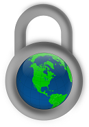 Padlock around Earth representing Internet Filtering