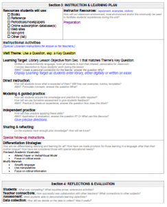 Library Lesson Planner template, Part 3