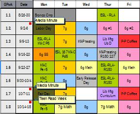 Sample of Library Schedule Tab worksheet