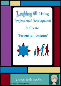"Looking @ Using Professional Development to Create ""Essential Lessons"" - Classroom teachers have created ""essential lessons"" for Common Core State Standards, C3 Framework for Social Studies, and Next Generation Science, many of which integrate ISTE Technology Standards. Significantly missing are ""essential lessons"" which integrate the AASL Standards for the 21st Century Learner. We librarians can use our professional development opportunities to create such Information Literacy Essential Lessons, thereby promoting collaboration with teachers and thus ensuring student success for future endeavors."