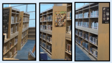 As this photo shows, high school libraries with short bookcases can stack one atop another & bolt them together to make a more convenient experience for students.
