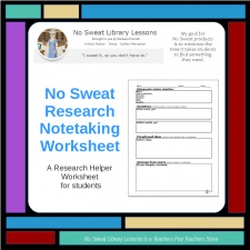 NoSweat Research Notetaking Worksheet available on my TeachersPayTeachers Store