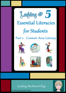 Looking @ 5 Essential Literacies for Students: Part 2-Content/Disciplinary Literacy - In our modern world students need to understand and be proficient in 5 Essential Literacies, and School Librarians need to integrate at least one Library Literacy component into every class visit. In Part 2 we look at Library Lessons that help build the Content/Disciplinary Literacy that students need to be successful with current and future coursework.