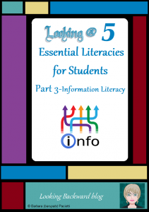 Looking @ 5 Essential Literacies for Students: Part 3-Information Literacy - In our modern world students need to understand and be proficient in 5 Essential Literacies, and School Librarians need to integrate at least one Library Literacy component into every class visit. In Part 3 we look at Library Lessons that help build the Information Literacy Skills that students need to be successful with current and future coursework.