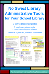 NoSweat Librarian Administrative Tools for your School Library - An indispensable set of customizable templates to explain your philosophy, organization, policies & procedures, and library activities; track funds & purchases; plan an effective Library Program; efficiently manage your time, and let your principal (and teachers) know how the School Library serves students.