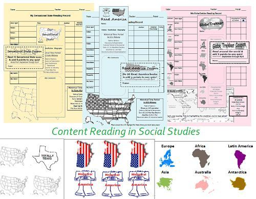 Content Reading in Social Studies - Sample Reading Records, Bookmarks, Stickers for 3 grades in Middle School.