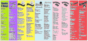 Snip of several colorful topical bookmarks side-by-side