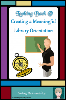 Looking Back @ Creating a Meaningful Library Orientation - The purpose of any library lesson is to support classroom learning, and for a library orientation it's especially important to set the tone for the entire school year. Here's my lesson with the rationale for what I do...and DON'T do...at my first visit with new-to-the-school students. #NoSweatLibrary #library orientation #ELA #reading fiction #middleschool #handsonlearning #readingpromotion