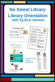 This 1-visit Orientation product is customized for 7g ELA classes. A Scavenger Hunt reviews the School Library and features new materials especially appealing to 7th graders.