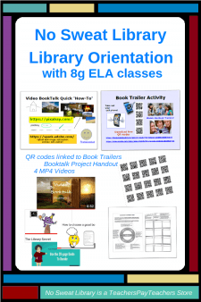 This 1-visit Orientation product is customized for 8g ELA classes. A Book Trailer activity refreshes student interest in the School Library and features new materials especially appealing to 8th graders.