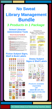 View my Products @ No Sweat Library Lessons, a TeachersPayTeachers store: Dewey Signs & Shelf Labels; Fiction Signs, Shelf Labels, & Book Labels; Librarian's Handbook