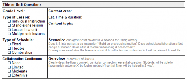 Image of my Library Lesson Planner - Summary section