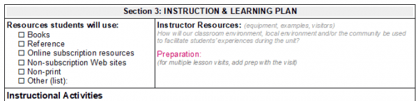 Image of Library Lesson Planner - Section 3a (Student resources, Instructor resources)