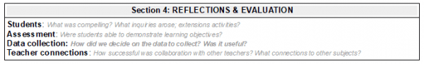 Image of Library Lesson Planner - Section 4 (Reflections and evaluation)