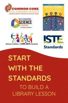 Start With Subject Standards for School Library Lessons - Library Lessons integrate perfectly with classroom learning when we begin our planning with Subject Standards. Use my FREE Library Lesson Planner Template to do it the right way: backward planning from Standards to Assessment to Instruction. #NoSweatLibrary #schoollibrary #librarylesson #standards