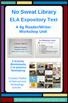 NoSweat ELA Expository Text Unit for 6th Grade (as Reader/Writer Workshops)