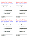 Student Pass to Library Template - a personalized laminated pass for each teacher/classroom to fill out with a dry-erase marker allowing students to come to the library during class-time. #NoSweatLibrary