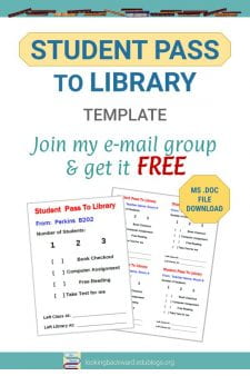 Student Pass to Library: Get the FREE Template - a personalized laminated pass for each teacher/classroom to fill out with a dry-erase marker allowing students to come to the library during class-time. FREE download after joining my email group! #NoSweatLibrary
