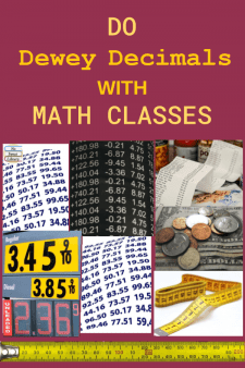 Make Dewey Lessons More Relevant with Math Classes - Here's a great way to bring Math classes into the school library: review decimal concepts & library organization by having students locate Dewey Decimal-numbered books on the shelves. I do lessons with 2 different grade levels! #NoSweatLibrary