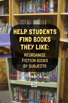 Organize Your Library Fiction to Align with Student Interests - Increase student reading by reorganizing fiction books into subject groups. Here's how to do it without changing spine labels or Call Numbers! #NoSweatLibrary