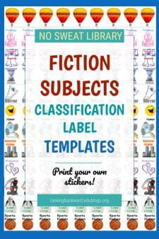 Fiction Subjects Book Labels, Signs, & Shelf Labels - Identify 16 common Fiction book Subjects for your students with this package of bookcase signs, shelf labels, and book spine labels, all color-coordinated for you to use in your Fiction area. Visit my TPT store to learn more and buy now! #NoSweatLibrary