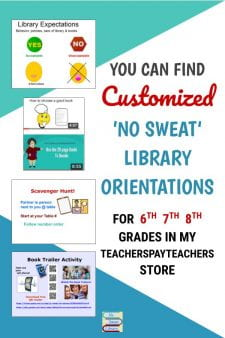 Customized School Library Orientations For You! - My customized Library Orientations for 3 middle school grades are available in No Sweat Library, my TeachersPayTeachers store. Each grade is available separately or choose the 3-grade bundle to save! #NoSweatLibrary