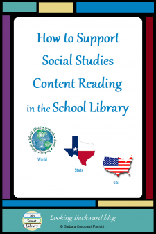 How to Support Social Studies Content Reading in the School Library - Promote content area reading in middle school Social Studies by grouping books into Special Collections. Here's how I support 6g World Cultures/Geography, 7g State History, and 8g United States History. #NoSweatLibrary