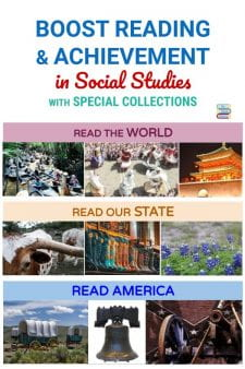 Help Students Achieve in Social Studies with Special Library Collections - School Librarians know that increased content knowledge means higher achievement in that subject. Give students a boost in social studies by creating special grade-level collections of fiction & nonfiction social studies topical books! Here's how I did it. #NoSweatLibrary