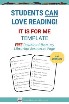 """Help Students Choose a """"Just Right"""" Book - School Librarians can foster a love for reading when they help students choose a good book. Use this IT IS FOR ME mnemonic checklist, along with the video showing how to use it, and your students will finally start finishing their books! #NoSweatLibrary"""