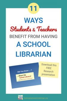 Certified School Librarians Increase Student Achievement - Fifty years of research prove that a certified School Librarian benefits students and teachers and school test scores. Find out more and then download the FREE presentation for colleagues. #NoSweatLibrary