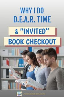 """""""Hack"""" Book Checkout with Silent Reading - Stop the noise & chaos during book checkout by establishing Drop Everything And Read time. Here's how I """"invite"""" students in small groups so checking out books goes much more quickly & quietly. #NoSweatLibrary"""