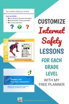 Get My FREE Digital Citizenship Lesson Planner for Middle School - Download a FREE PDF of my Digital Citizenship Lesson Planner for a complete bibliography of all the resources I've compiled for Internet safety lessons. I include examples of how I customize for my middle school students. #NoSweatLibrary