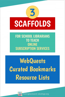 Scaffold Lessons for Online Subscription Services - Students learn our Online Subscription Services better when School Librarians scaffold Library Lessons as WebQuests, with Curated & Bookmarked Articles, and through Resource Lists. Here's how I do it... #NoSweatLibrary
