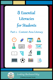 5 Essential Literacies for Students: Part 2 Content Area Literacy - Our students need to be proficient in 5 Essential Literacies and School Librarians can integrate a Library Literacy component into any class visit. In Part 2 we look at 5 ways to incorporate Content Area/Disciplinary Literacy into library visits with subject area classes. #NoSweatLibrary