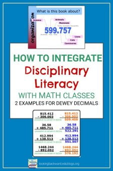 2 Library Lessons for Content Area/Disciplinary Literacy in Math - Give Math classes a curricular reason to visit the library. Integrate a hands-on activity that practices identifying and using decimals by using Dewey Decimal numbered book locations. #NoSweatLibrary