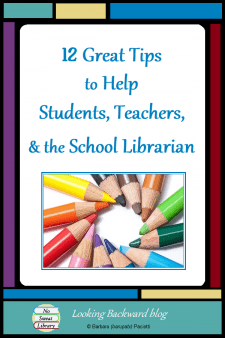 12 Great Tips to Help Students, Teachers, & the School Librarian - Here are 12 tips and tricks that can help you manage the school library and promote it—and the School Librarian—to students and teachers. Remember, the most positive Library Promotion we can do is through our actions rather than our words! #NoSweatLibrary