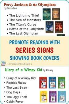 A Tip to Help Students: Create Series Signs of Book Covers - Students like to read a book series in order, so help them out by making signs with the book covers in order and attaching them to the pertinent shelves. #NoSweatLibrary