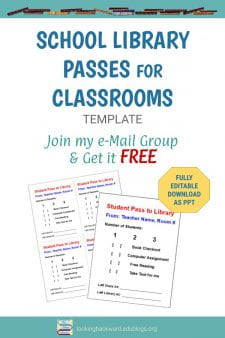 A Tip to Help Teachers: Create Customized Passes to the Library - Create a personalized library pass for every teacher, laminate them, & teachers can use a dry-erase marker to write on them. When students return, the teacher just wipes off the pass. Join my email list & you can download the editable template FREE! #NoSweatLibrary