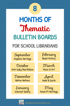 Share a Library Bulletin Board with Monthly Themes - Here are 8 themes for a school library bulletin board that I share with other staff members so I only have to do 2 different months of decorating! Learn how you can do the same. #NoSweatLibrary