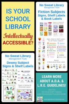 What is Intellectual Accessibility and How is Your School Library? - The School Library must provide a least restrictive learning environment for disabled students, and that includes the intellectual accessibility of information. To be truly inclusive, we must provide multimodal signage so our students can find just what they want and need. Learn more ... #NoSweatLibrary