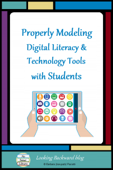 Properly Modeling Digital Literacy & Technology Tools with Students - It's crucial for educators to use technology tools correctly when we deliver a lesson to students. Here are some best practices I model to build digital literacy, and a lesson that integrates technology in order to increase student engagement and enhance their end product. #NoSweatLibrary