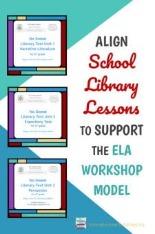 School Librarians Can Re-align Library Lessons to Fit a Workshop Model - The 4 Instructional Activities of my Library Lesson Planner align with the 4 steps of the Workshop model. Through collaboration with ELA teachers, each literary text unit now has meaningful Library Lessons that align with classroom learning and ensure continued library visits. #NoSweatLibrary