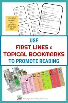 Easy Reading Promotion with First-Lines & Topical Bookmarks! - As a NON-Fiction School Librarian, I read aloud the first-lines of fiction books so students know why reading the first page is on our checklist. And I create 21 different topical & series bookmarks to give students additional choices for story types they already like. #NoSweatLibrary